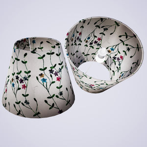 Conical Lamp Shade P43 - Embroidered Flowers on White, 23cm(top) x 40cm(bottom) x 31cm(height)