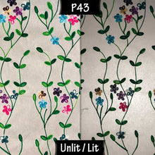 Drum Floor Lamp - P43 - Embroidered Flowers on White, 22cm(d) x 114cm(h) - Imbue Lighting