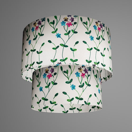 2 Tier Lamp Shade - P43 - Embroidered Flowers on White, 40cm x 20cm & 30cm x 15cm