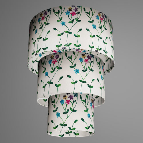 3 Tier Lamp Shade - P43 - Embroidered Flowers on White, 40cm x 20cm, 30cm x 17.5cm & 20cm x 15cm