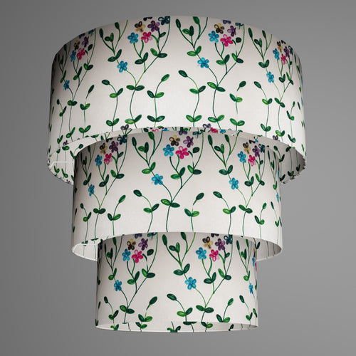 3 Tier Lamp Shade - P43 - Embroidered Flowers on White, 50cm x 20cm, 40cm x 17.5cm & 30cm x 15cm