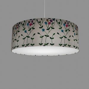 Drum Lamp Shade - P43 - Embroidered Flowers on White, 60cm(d) x 20cm(h)