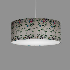 Drum Lamp Shade - P43 - Embroidered Flowers on White, 50cm(d) x 20cm(h)