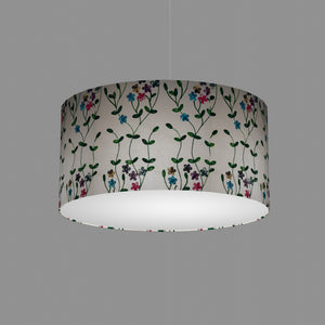 Drum Lamp Shade - P43 - Embroidered Flowers on White, 50cm(d) x 25cm(h)