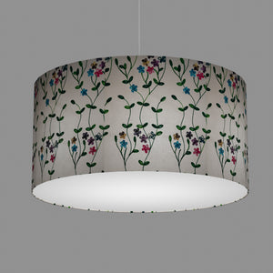 Drum Lamp Shade - P43 - Embroidered Flowers on White, 60cm(d) x 30cm(h)
