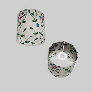 Drum Lamp Shade - P43 - Embroidered Flowers on White, 15cm(d) x 15cm(h)