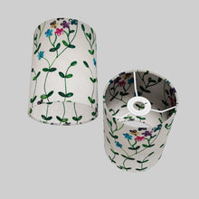 Drum Lamp Shade - P43 - Embroidered Flowers on White, 15cm(d) x 20cm(h)