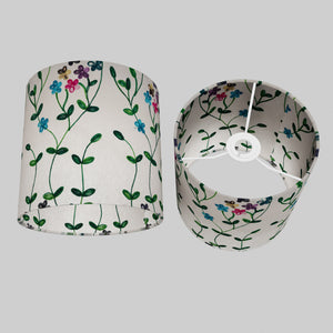 Drum Lamp Shade - P43 - Embroidered Flowers on White, 20cm(d) x 20cm(h)