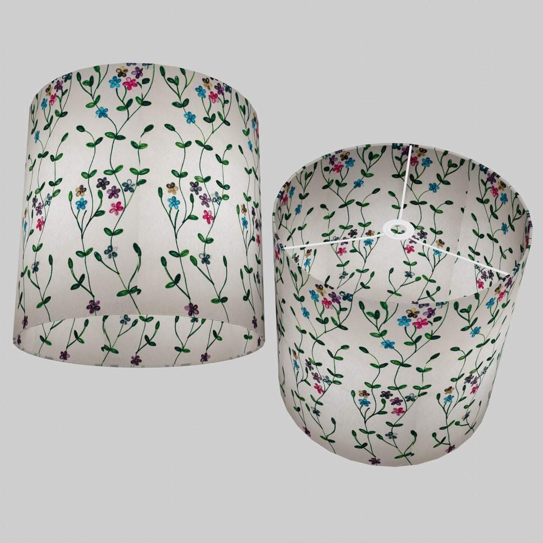 Drum Lamp Shade - P43 - Embroidered Flowers on White, 40cm(d) x 40cm(h)