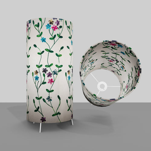 Free Standing Table Lamp Large - P43 ~ Embroidered Flowers on White