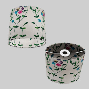 Oval Lamp Shade - P43 - Embroidered Flowers on White, 20cm(w) x 20cm(h) x 13cm(d)
