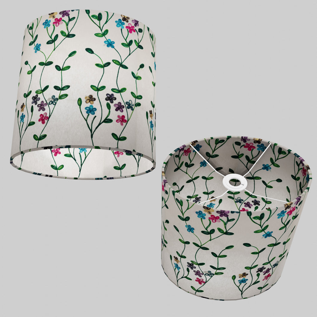 Oval Lamp Shade - P43 - Embroidered Flowers on White, 30cm(w) x 30cm(h) x 22cm(d)