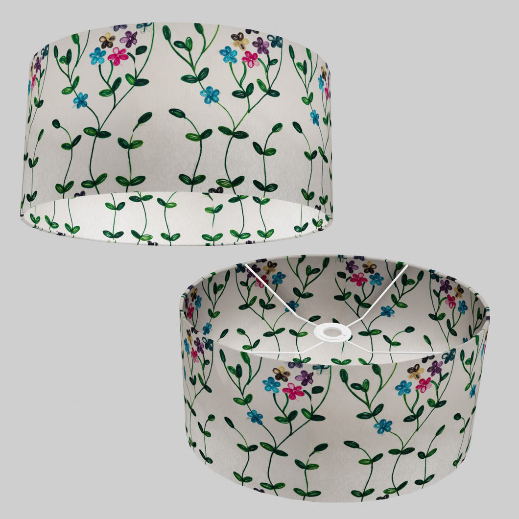 Oval Lamp Shade - P43 - Embroidered Flowers on White, 40cm(w) x 20cm(h) x 30cm(d)