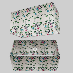 Rectangle Lamp Shade - P43 - Embroidered Flowers on White, 50cm(w) x 25cm(h) x 25cm(d)
