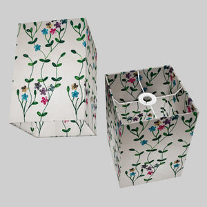 Square Lamp Shade - P43 - Embroidered Flowers on White, 20cm(w) x 30cm(h) x 20cm(d)