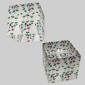 Square Lamp Shade - P43 - Embroidered Flowers on White, 30cm(w) x 30cm(h) x 30cm(d)