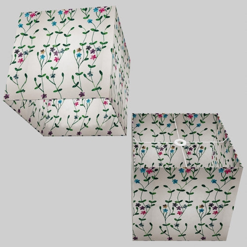 Square Lamp Shade - P43 - Embroidered Flowers on White, 40cm(w) x 40cm(h) x 40cm(d)