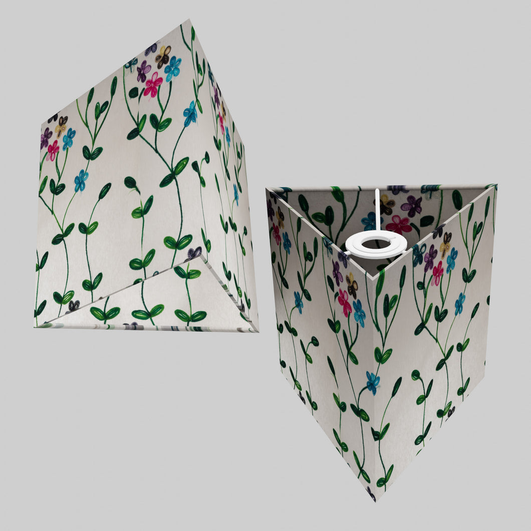 Triangle Lamp Shade - P43 - Embroidered Flowers on White, 20cm(w) x 20cm(h)