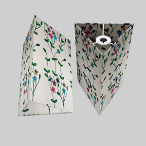 Triangle Lamp Shade - P43 - Embroidered Flowers on White, 20cm(w) x 30cm(h)