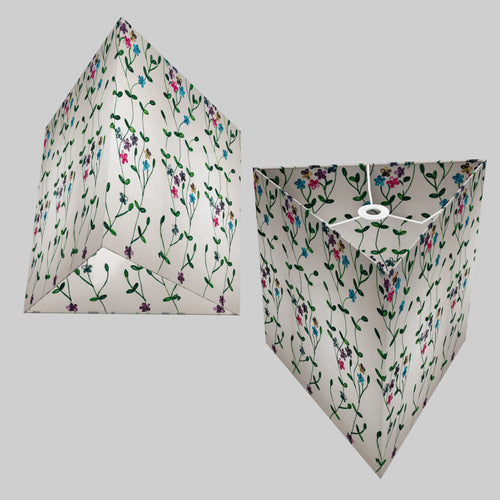 Triangle Lamp Shade - P43 - Embroidered Flowers on White, 40cm(w) x 40cm(h)