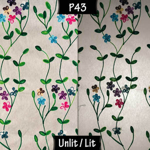 Oak Tripod Floor Lamp - P43 - Embroidered Flowers on White