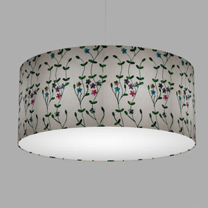 Drum Lamp Shade - P43 - Embroidered Flowers on White, 70cm(d) x 30cm(h)