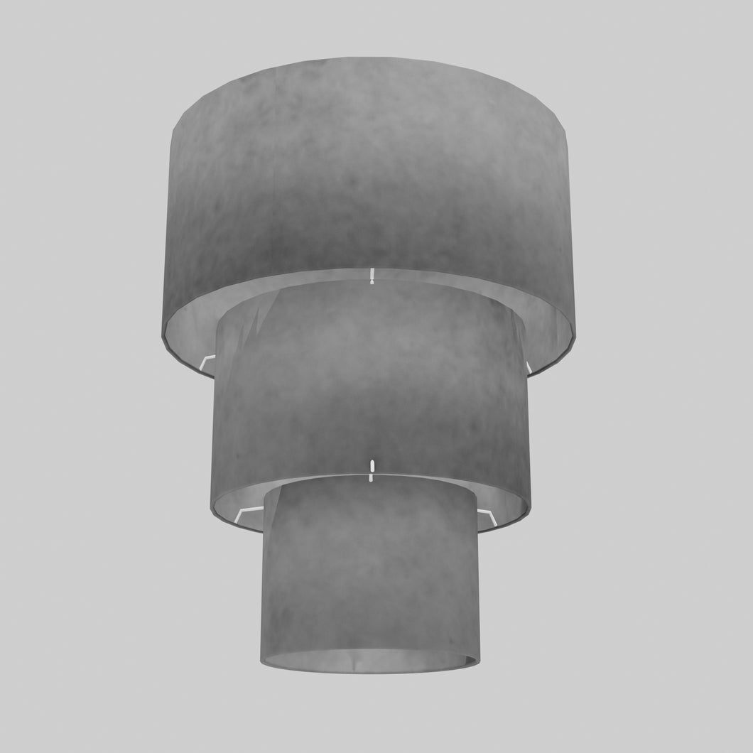 3 Tier Lamp Shade - P53 - Pewter Grey, 40cm x 20cm, 30cm x 17.5cm & 20cm x 15cm
