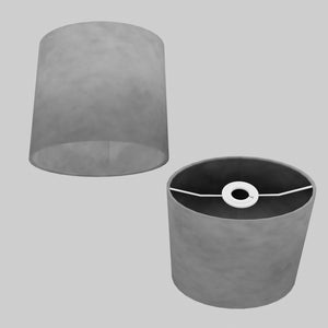 Oval Lamp Shade - P53 - Pewter Grey, 20cm(w) x 20cm(h) x 13cm(d)