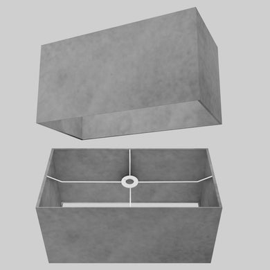 Rectangle Lamp Shade - P53 - Pewter Grey, 50cm(w) x 25cm(h) x 25cm(d)