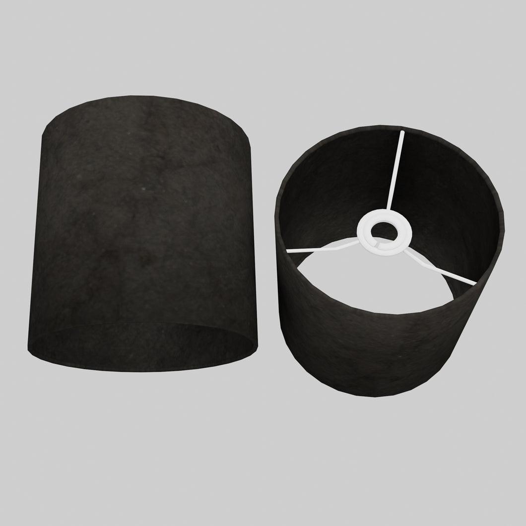 Drum Lamp Shade - P55 - Black Lokta, 20cm(d) x 20cm(h)