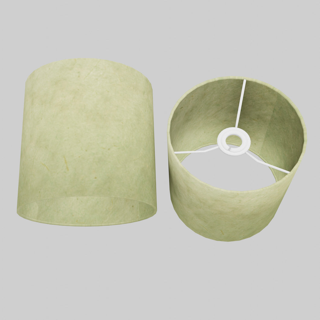 Drum Lamp Shade - P56 - Green Lokta , 20cm(d) x 20cm(h)