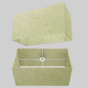 Rectangle Lamp Shade - P56 - Green Lokta , 50cm(w) x 25cm(h) x 25cm(d)