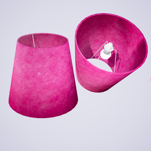 Conical Lamp Shade P57 - Hot Pink Lokta, 23cm(top) x 35cm(bottom) x 31cm(height)
