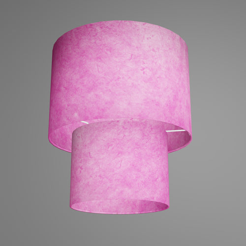 2 Tier Lamp Shade - P57 - Hot Pink Lokta, 30cm x 20cm & 20cm x 15cm