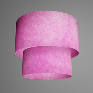 2 Tier Lamp Shade - P57 - Hot Pink Lokta, 40cm x 20cm & 30cm x 15cm