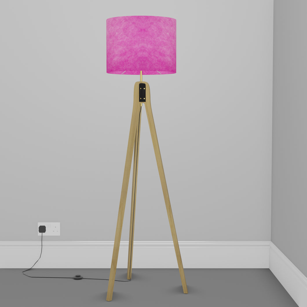 Oak Tripod Floor Lamp - P57 - Hot Pink Lokta