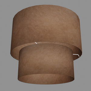 2 Tier Lamp Shade - P58 - Brown Lokta, 40cm x 20cm & 30cm x 15cm