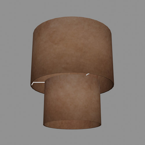 2 Tier Lamp Shade - P58 - Brown Lokta, 30cm x 20cm & 20cm x 15cm