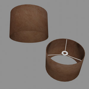 Drum Lamp Shade - P58 - Brown Lokta, 30cm(d) x 20cm(h)