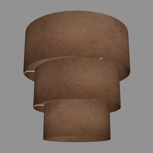 3 Tier Lamp Shade - P58 - Brown Lokta, 50cm x 20cm, 40cm x 17.5cm & 30cm x 15cm