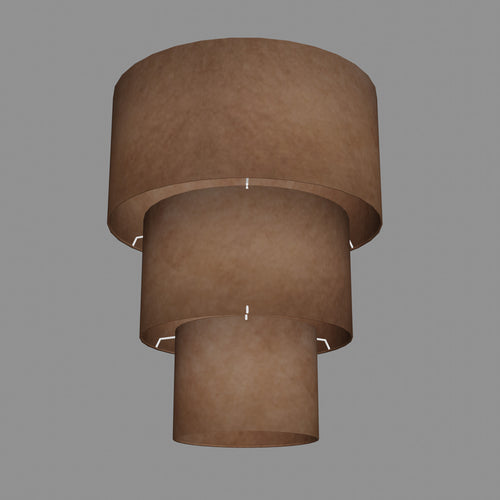 3 Tier Lamp Shade - P58 - Brown Lokta, 40cm x 20cm, 30cm x 17.5cm & 20cm x 15cm