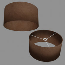 Drum Lamp Shade - P58 - Brown Lokta, 40cm(d) x 20cm(h)