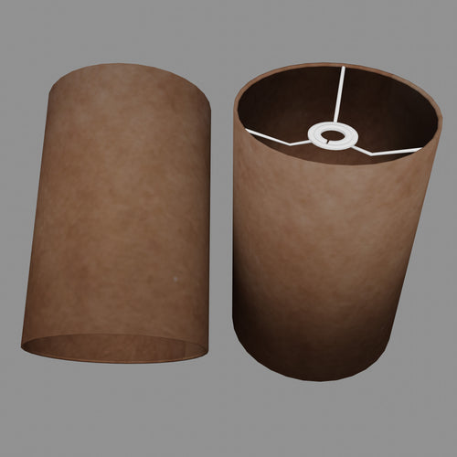 Drum Lamp Shade - P58 - Brown Lokta, 20cm(d) x 30cm(h)