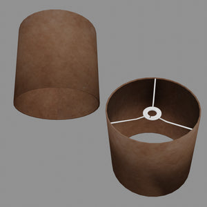 Drum Lamp Shade - P58 - Brown Lokta, 25cm x 25cm