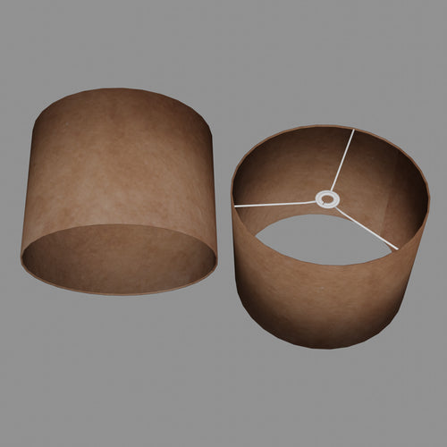 Drum Lamp Shade - P58 - Brown Lokta, 40cm(d) x 30cm(h)