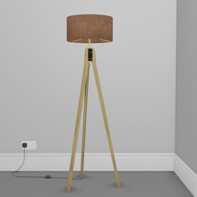 Oak Tripod Floor Lamp - P58 - Brown Lokta