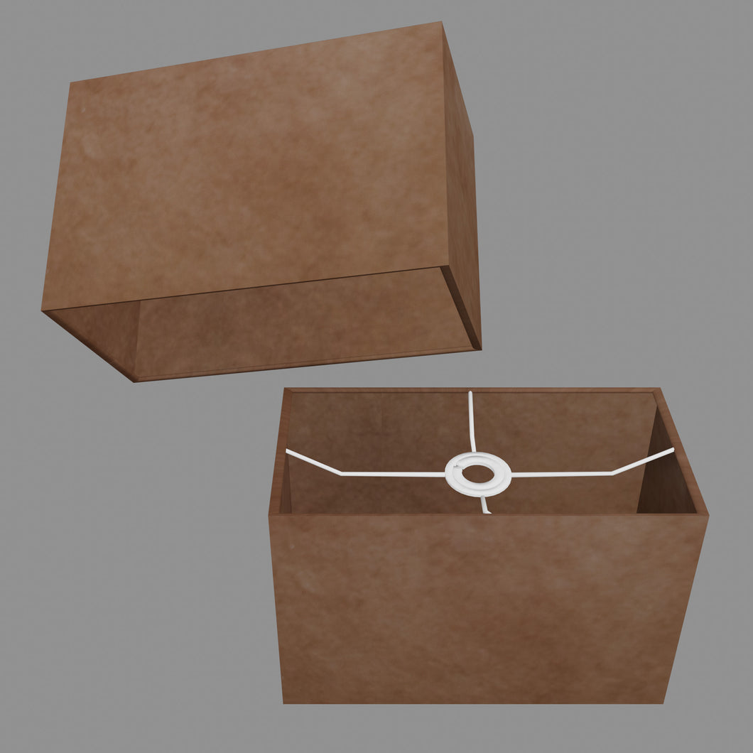 Rectangle Lamp Shade - P58 - Brown Lokta, 30cm(w) x 20cm(h) x 15cm(d)
