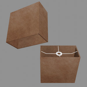 Rectangle Lamp Shade - P58 - Brown Lokta, 30cm(w) x 30cm(h) x 15cm(d)