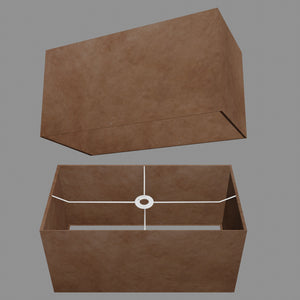 Rectangle Lamp Shade - P58 - Brown Lokta, 50cm(w) x 25cm(h) x 25cm(d)