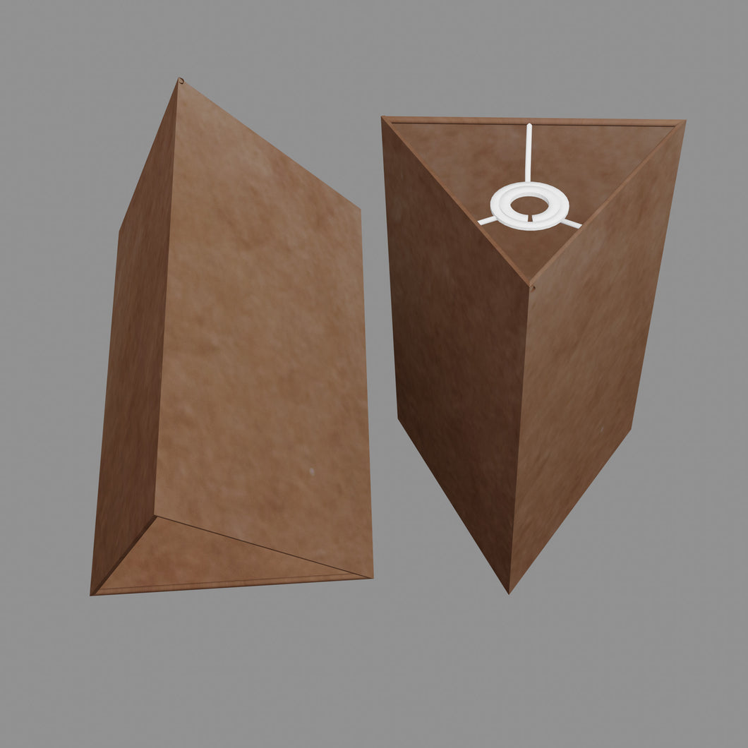 Triangle Lamp Shade - P58 - Brown Lokta, 20cm(w) x 30cm(h)